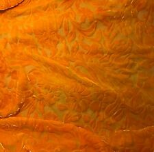 "Hand Dyed Burnout Silk VELVET Fabric TANGERINE ORANGE FLORAL 9""x27"" remnant"