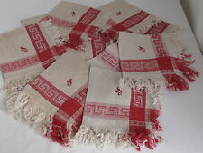 12 Antique Turkey Red Linen Damask Napkins