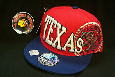 Texas TX Red Navy Blue Flat Rimmed Snapback Sports Cap Piranha Records