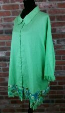 JUNONIA Plus Size 4X Fringe Beaded Tropical Linen Blend 3/4 Sleeve Blouse Tunic