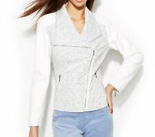 INC International Concepts Jacket Woman 3X White Grey Knit Pleather Motorcycle