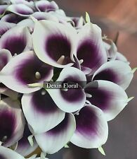 36PCS Real/Natural Touch PU Purple Picasso Calla Lily Bridal Wedding Bouquets