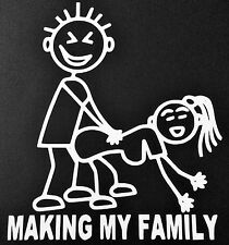 NEW WHITE MAKING MY FAMILY STICK FIGURE FUNNY SEX CAR TRUCK SUV DECAL STICKER