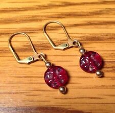 Vintage Red Glass Moon Face Costume Jewelry Earrings F660