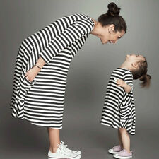 Fashion Mother& Daughter Black And White Striped Dress Casual Family Cloth Dress