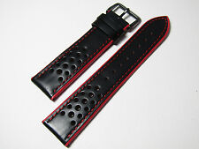 22mm HADLEY ROMA MENS HIGH PERFORMANCE   LEATHER SPORT STRAP MS755 RED