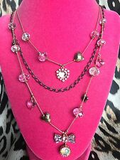 Betsey Johnson Pink Crystal Bow AB Heart Rose Gold Copper Layered Necklace RARE