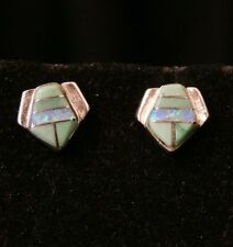 Vintage Sterling Silver Jade and Fire Opal Mexico Stud Earrings Make Offer #2879