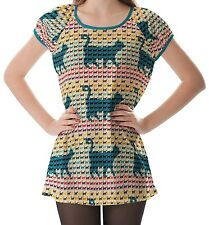 Multicolour Cats Curved Tails Women's Clothing Puff Sleeve One Piece Dress