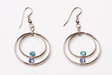 GLAM DROP EARRINGS 2 SILVER TONE CIRCLES IRIS BLUE TURQUOISE RHINESTONES (ZX26)