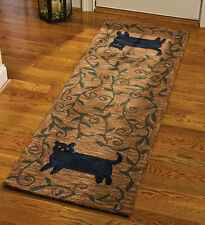 """AREA RUGS - """"STRETCHING CAT""""  HAND HOOKED RUG - 24"""" X 72"""" RUNNER - BLACK CAT RUG"""