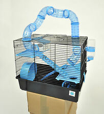Bernie Large Blue Hamster Cage Small Animal Cage With Fun Play Tubes 3 Storey