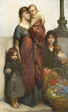 Flower sellers of London Gustave Dore chica pobreza infantil madre B a3 02176