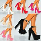 WOMENS CONCEALED PLATFORMS GOLD METAL ANKLE CUFF COURT SHOES HIGH HEELS SIZE