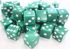 "WHOLESALE LOT OF 50 GREEN DICE WHITE PIPS 6 SIDED D6 DIE GAME SIX 5/8"" 16mm"