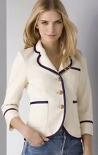 Smythe Yachting Wool Blazer Ivory Red Blue Piping Size 6