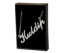 "Name Necklace ""KULDIP"" - 18ct White Gold Plated - Swarovski Element - Name Plate"