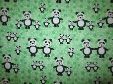PANDA PANDAS BABY FAMILY GREEN STARS FLANNEL FABRIC FQ OOP