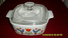 Corning Ware 1 1/2 Qt. Friendship Amish Rooster Country Festival Casserole & Lid