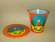 1960s VINTAGE USSR RUSSIAN SAND PAIL TIN TOY and TRAY with PINOCCHIO