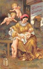 Christmas Greetings, virgin birth, stable, cherubs, angels