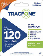 TRACFONE $29.99 Refill 90 Days 120 Minutes. Fast Reload Directly to Phone