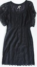 Anthropologie LACE DRESS by MAEVE Black Sheer Sleeves 4