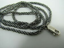 Sterling Silver 3mm Foxtail Chain 24 INCH Necklace Antique Oxidized 925 silver