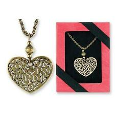 Filigreed Gold Heart Pendant and Necklace with Gift Box