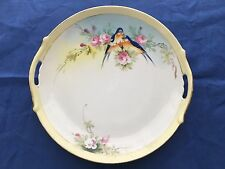 "RARE Vintage Nippon Hand Painted BLUE BIRDS PINK FLOWERS 10.75"" SERVING PLATE"