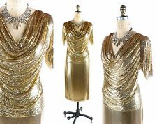 Vintage 1970s 70s WHITING AND DAVIS Gold Metal Mesh DRESS Skirt Shirt Set sz S/M