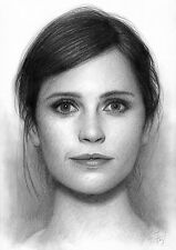 Felicity Jones Original Hand-Drawn Pencil Drawing Art A.Fry