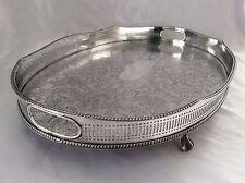 """Ottima qualità 18"""" Sheffield di grandi dimensioni color argento su rame pagano Galleria vassoio c.1930"""