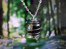 "Black onyx argent spirale collier 18 ""chaîne pendentif Gemstone Cristal Wicca Pagan"