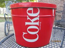 Large 1983 COKE COCA-COLA Popcorn Tin Officially Licensed Product Bucket w/ Lid