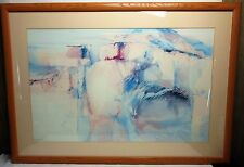 Vintage Harold E Larson Abstract South Western Art Signed Lithograph Framed