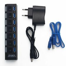 7 PORT USB 3.0 HUB High Speed 5 Gbps With Power For PC Desktop Laptop EU