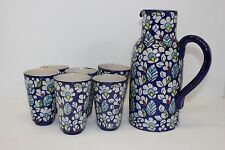 Pakistani Handmade by Villagers Jug With 6 Glasses Drinks Water Set Traditional