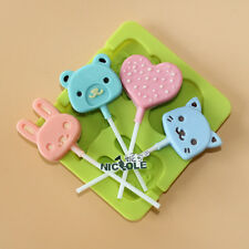 Cartoon Silicone Lollipop Pop Mould Cake Chocolate Candy Baking Tray Stick Tools