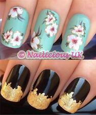 NAIL ART SET #244.CREAMY LILLIES WATER TRANSFERS/DECALS/STICKERS & GOLD LEAF