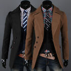 Fashion Mens casual Wool Coat Winter Trench Coat Overcoat Warm slim Long Jacket