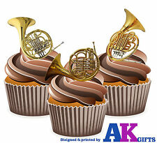 French Horn 12 Edible Stand Up Cup Cake Toppers Birthday Brass Band Party