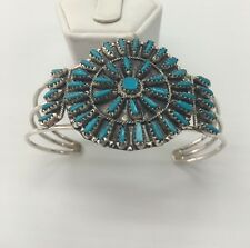 Native American sterling silver Navajo handmade Turquoise cluster cuff Bracelet