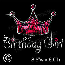 """birthday girl with crown"" strass hotfix Transfert Fer Sur Motif + cadeau gratuit"