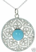 Joseph Esposito Solid 925 Sterling Silver Simulated Turquoise Necklace '