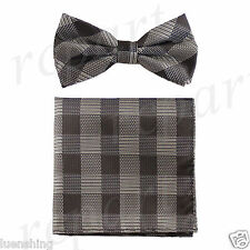 New In Box Men's Plaid Pre-tied Bow Tie And Hankie Set Formal Party Prom Brown