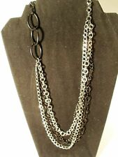 Vintage Joan Rivers Silver, Black And Charcoal Tone Chain Link Necklace