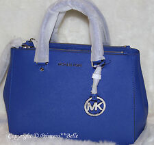 MICHAEL KORS Medium Sutton Satchel Leather Bag Tote Purse Handbag Electric Blue