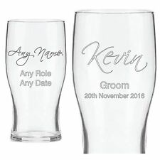 Personalised Engraved Pint Beer Glass Best Man Usher Father of the Groom/Bride