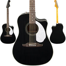 Fender Sonoran SCE Acoustic Electric Guitar Black Dreadnought Solid Top Cutaway!